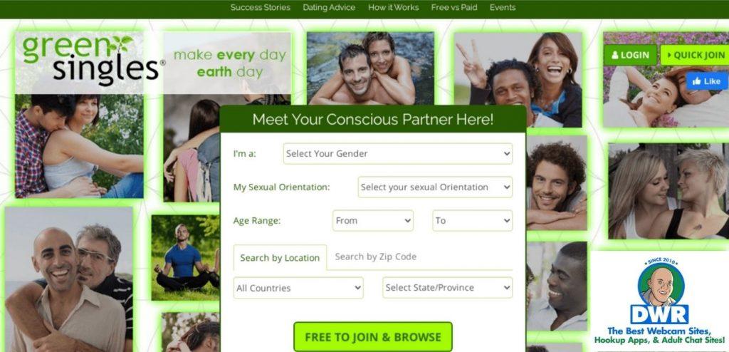Greensingles.com homepage