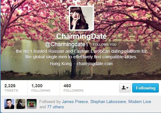 CharmingDate.com twitter page